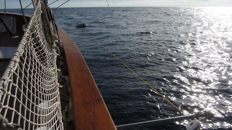 Le Manta Trawl d'Oceaneye tiré sur le Fleur de Passion